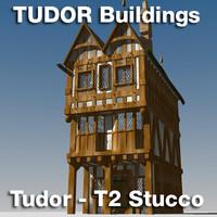 3d t2-tudor style medieval building model