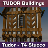 3d model t4 tudor style medieval building