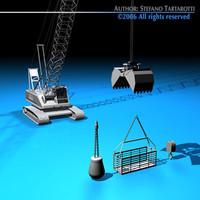 3d crane dipper bucket model