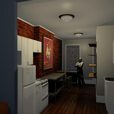 3d apartment kitchen furniture model