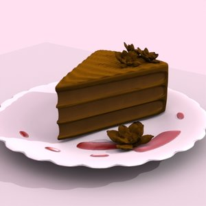 3d slice chocolate layer cake