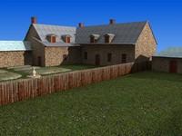 Cottages Barns Low Poly 3D Model