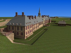 3d old fortress village cottages