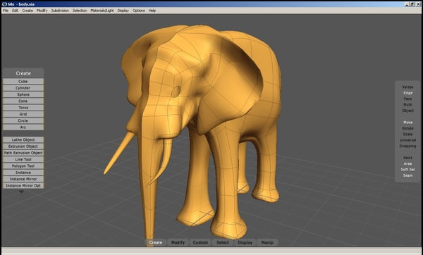 3d low-poly elephant