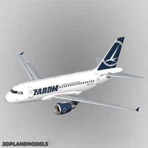 3d model of airbus a318 tarom a-318