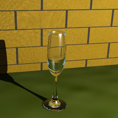 glass champagne flute 3d model