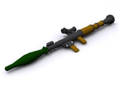 rpg-7 rocket 3d 3ds