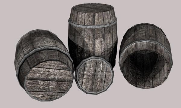 3d wooden barrel 700 tris model