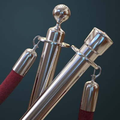 roped stanchions 3d 3ds