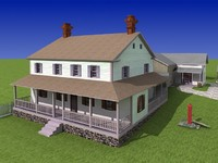 3D model. House with barn