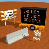 3d model jersey barrier road sign