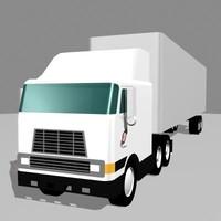 3d model cab semi trailer