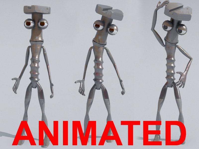 rigged animation bones 3d model