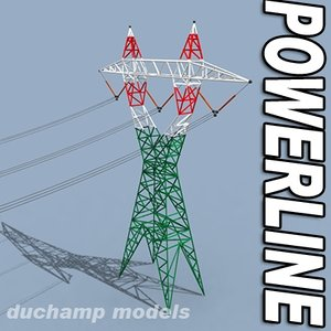 3d model voltage power line