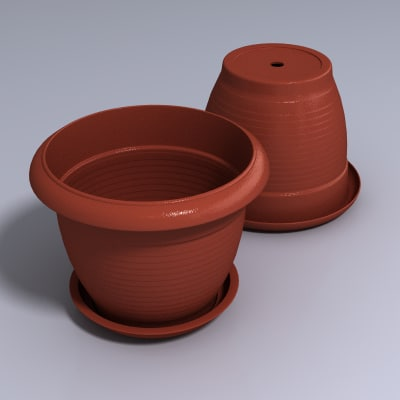 3d flowerpot flower model