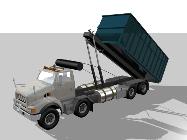 3d recycle truck container rigged