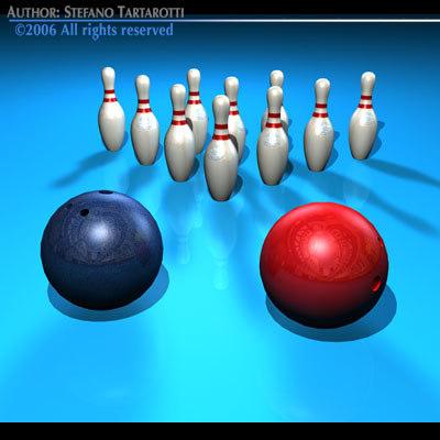 c4d bowling set pins