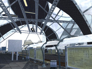 modern railway station trains 3d max