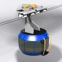 3d cableway wagon cable model