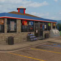 3d model of convenience store modeled