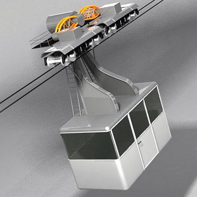 maya cableway wagon cable