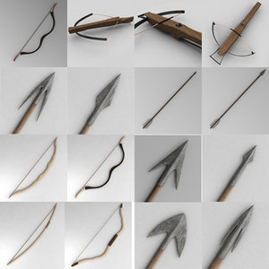 3d bow arrow crossbow model