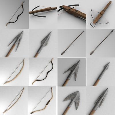 3d bow arrow crossbow model