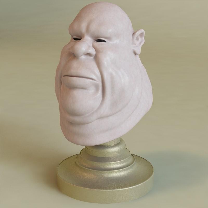fat male head 3d model