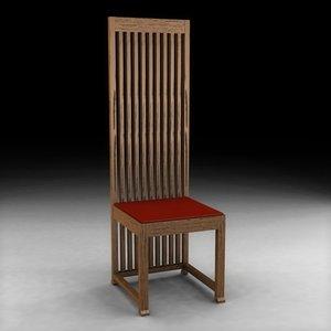 3d model chair frank lloyd wright