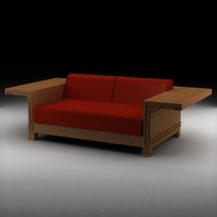 3d model frank lloyd wright classic sofa