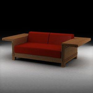 3d model frank lloyd wright classic sofa