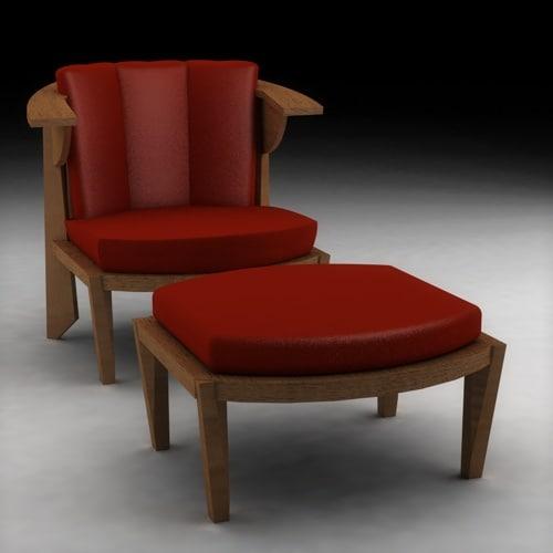 3d frank lloyd wright armchair model