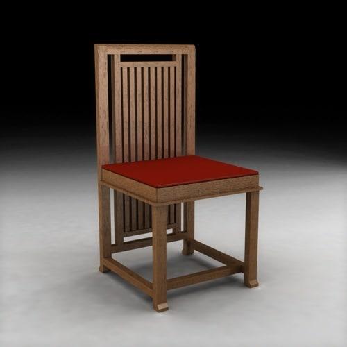3d model frank lloyd wright design chair
