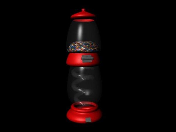 3d gumball machine gum ball model