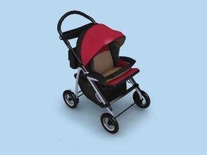 child pram 3d model