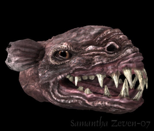 3d model bust rat monster