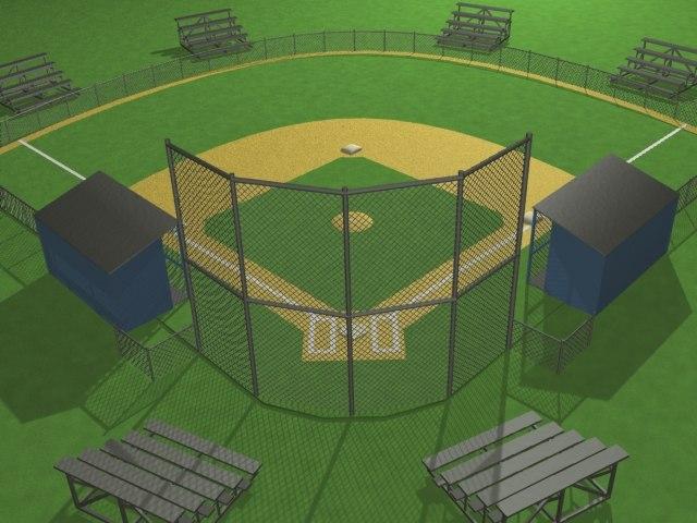 3d little baseball field bases model
