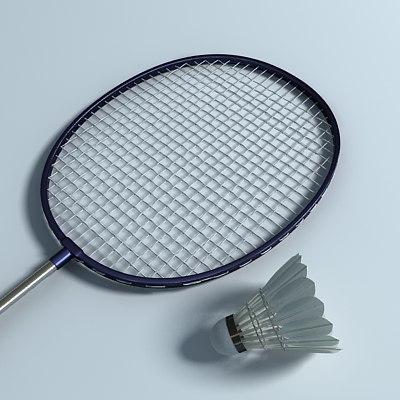badminton racket birdie 3d model