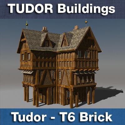 3d t tudor style medieval building model