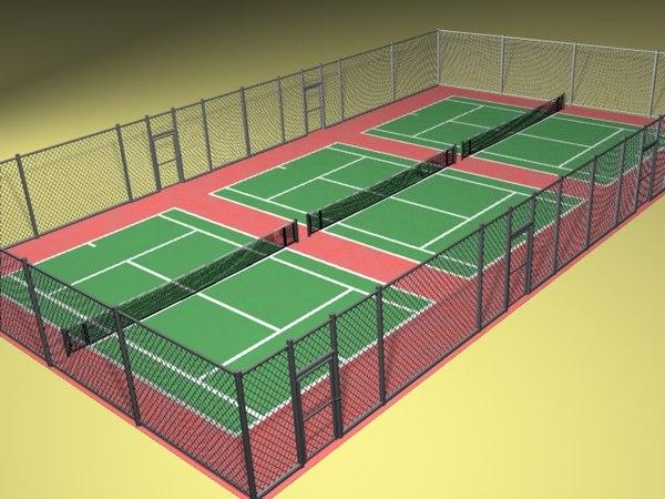 tennis court fence 3d lwo