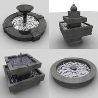 3d model fountain modern