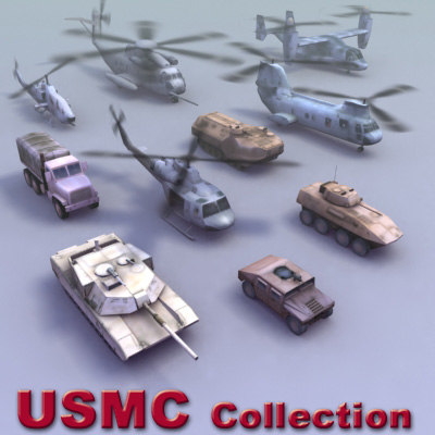marine corps tanks helicopters 3d model