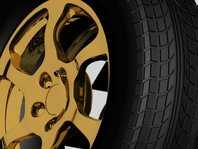 3d gold rim tire