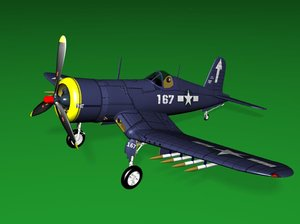 3d corsair airplanes fighter