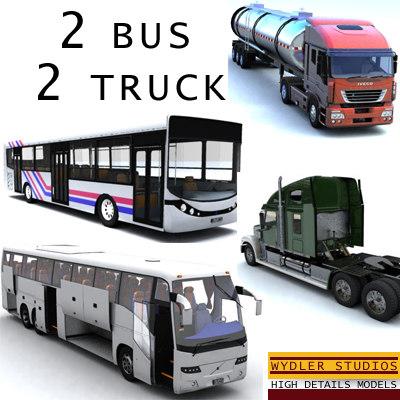 3d model bus truck