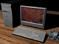 free computer set 3d model