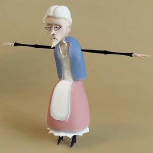 3d grandmother character