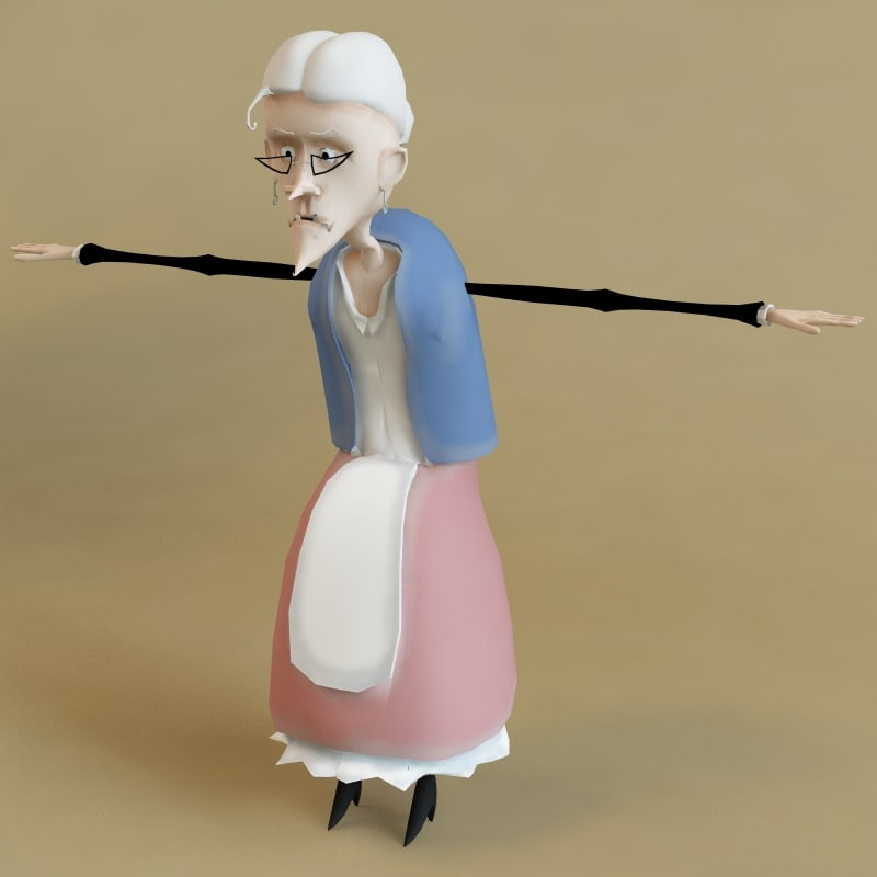 3d grandmother character