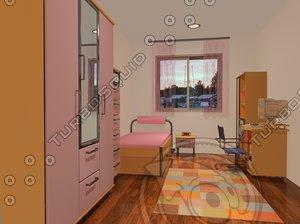 bed bedroom teenage 3d dwg