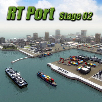 3d model port harbour buildings ships